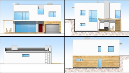 Four 2d sides of an individual modern house Stock Photo