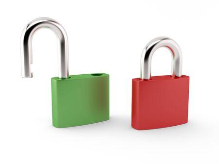 Opened and closed padlocks on white