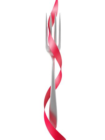 Fork with a red ribbon isolated on white