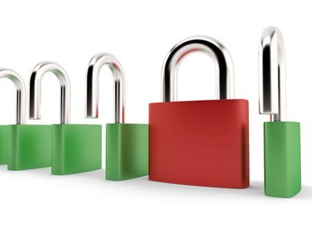 Different red padlock simply locked Stock Photo