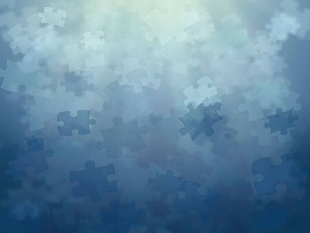 difficult mission: Parts of puzzle under the water � mission is more difficult! Stock Photo