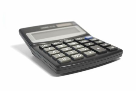 Book-keeping calculator isolated on white