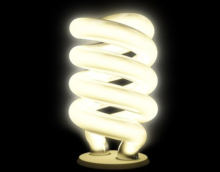 Warm fluorescent lamp with soft luminescence isolated on black