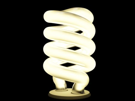 Warm fluorescent lamp isolated on black