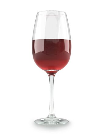 Red wine in a glass dishware isolated on white