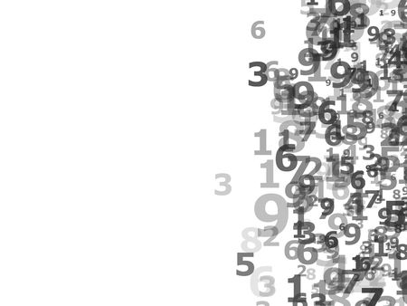 chaotically: Chaotically placed numbers on white background Stock Photo
