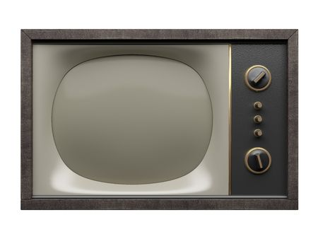 Old style TV. Front view. Isolated on white in XXL size.