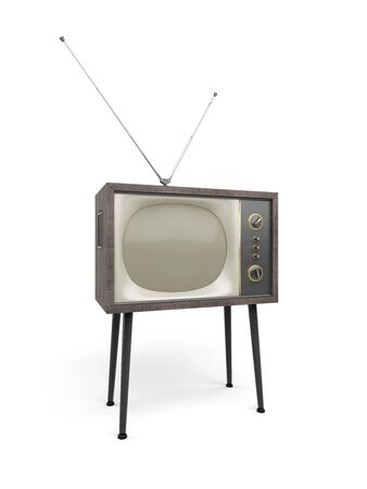 Old TV with antenna set stands on props, isolated on white