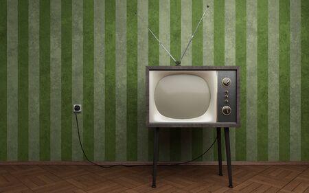Old TV dans la chambre vide avec fonds d'écran vert rayé