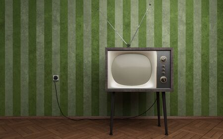 retro tv: Old TV in empty room with green striped wallpapers