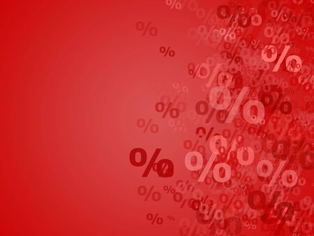 Percent background in red tints Stock Photo