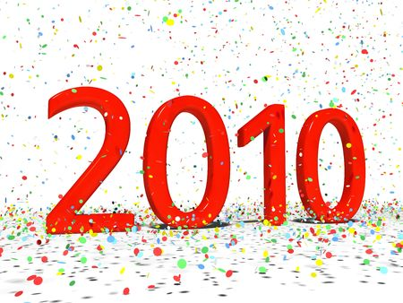 Date of 2010 with colourful confetti in XXXL size isolated on white