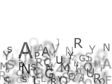 Conceptual alphabet background in greystyle on white