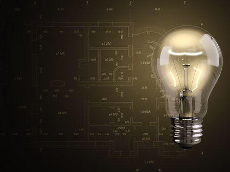 Luminous bulb with blueprint on background