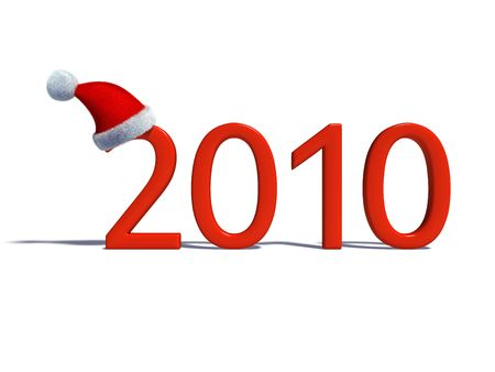 New years date with Santas hat isolated on white