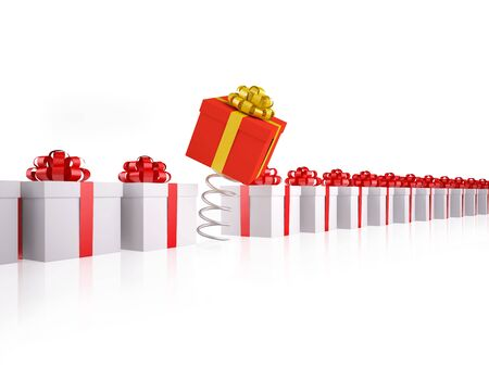 Different red gift box jumps on spring at group of white gift boxes. XXXL size image isolated on white. Stock Photo