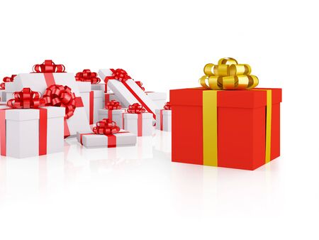 Group of gifts. Different red gift box separate with group of white gift boxes. XXXL size image isolated on white.