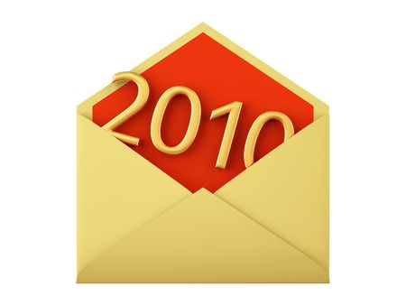 2010 date in envelope. XXXL size image isolated on white.