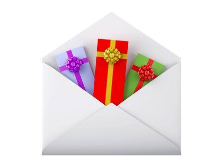 Gift boxes in white envelope. XXXL size image isolated on white.  Stock Photo