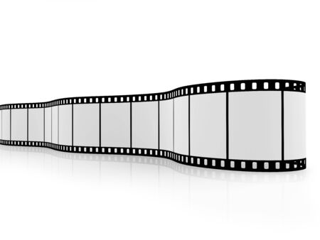 Blank film strip isolated on white with reflections on the floor.