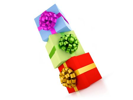 Colourful gift boxes on each other. XXXL size image isolated on white. Stock Photo