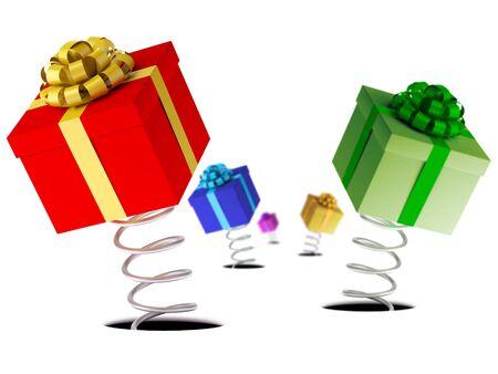 Gift boxes. Conceptual view. XXXL size image isolated on white. Stock Photo