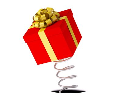 Gift. A red box with a gold festive bow jumps out on a spring. XXXL size image isolated on white. Stock Photo