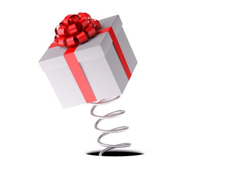 Gift. A white box with a red festive bow jumps out on a spring. XXXL size image isolated on white. Stock Photo