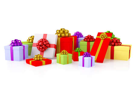 Group of colorful gifts. A varicoloured boxes with a festive bows. XXXL size image isolated on white.