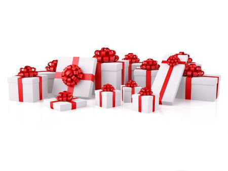 Group of gifts. A white boxes with a red festive bows. XXXL size image isolated on white.