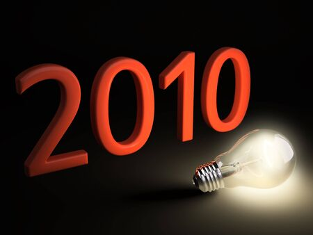 Light bulb light up the date of New Year 2010