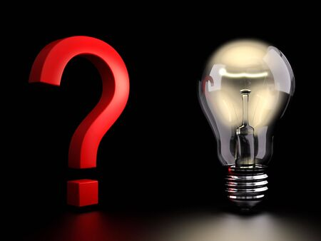 Electric light bulb lights up a question