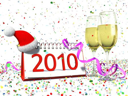 Calendar with date of 2010, christmas hat, glasses with yellow champagne, confetti. Festive new years atmosphere. Stock Photo