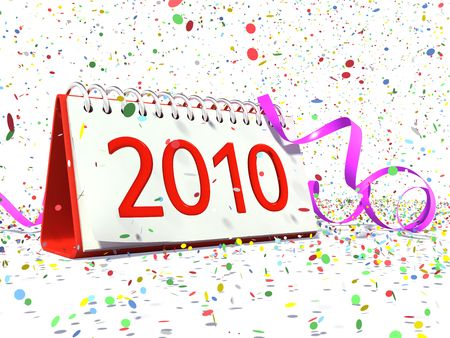 Calendar with date of 2010, confetti, festive strip in XXXL resolution on white background
