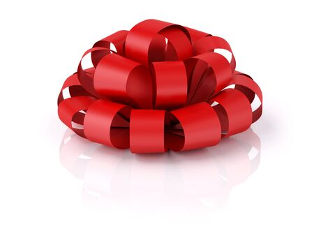 Red festive bow with reflecrion. XXXL image isplated on white.