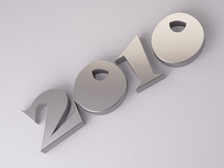 Date of New Year 2010 in steel.