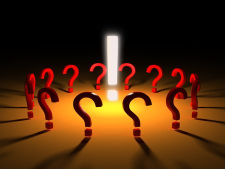 The group of red question marks around glowing exclamation mark