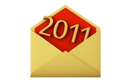 2011 date in envelope. XXXL size image isolated on white.