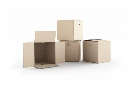 Cardboard boxes isolated on white. XXXL size image. Stock Photo