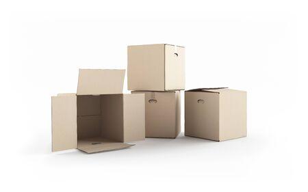 Cardboard boxes isolated on white. XXXL size image. Stock Photo