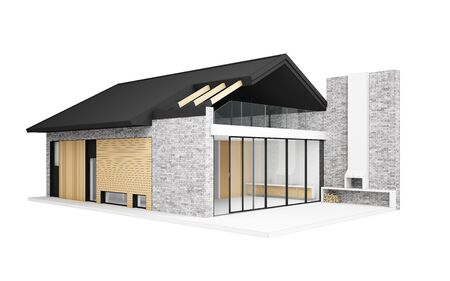 Small modern house isolated on white. 3D computer generated image XXXL size.