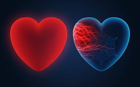 Conceptual illustration of love between two hearts Stock Photo