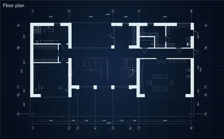 Floor plan blueprint of residental building project