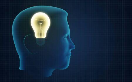 Conceptual illustration of idea like light bulb in human head