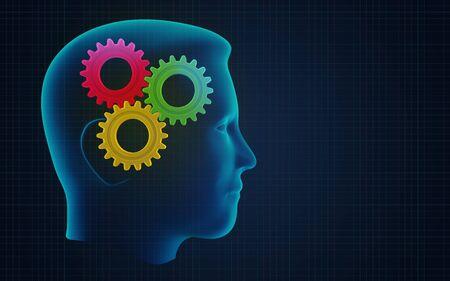 cognicion: Ilustración conceptual del cerebro humano en el trabajo Foto de archivo