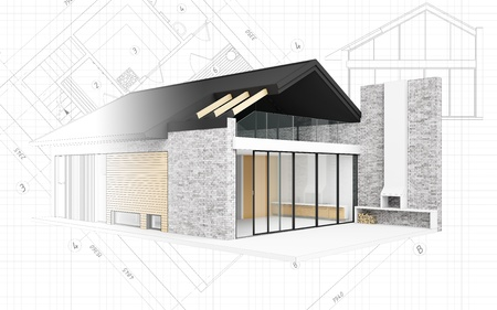 Small modern house project. 3D computer generated image XXXL size.