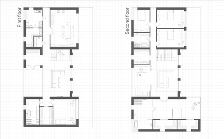 Blueprint of first and second floors of residental building project