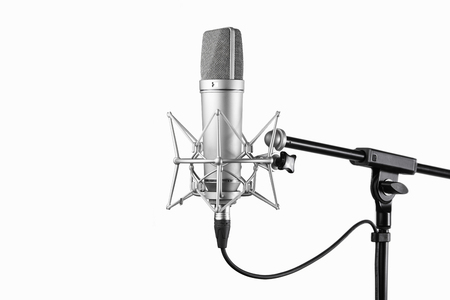 condenser: Shot of condenser studio microphone isolated on a white background