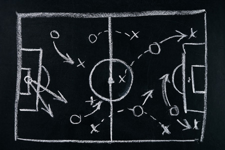 Soccer play tactics strategy drawn on chalk board Stock Photo
