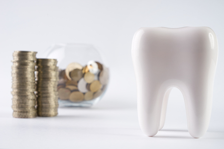 Tooth and piggy box with coins on isolate white background.Financial Concept Dentist Money concept